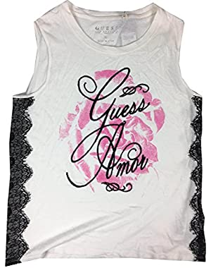 Guess Women's Sleeveless Side Lace Rose Tank