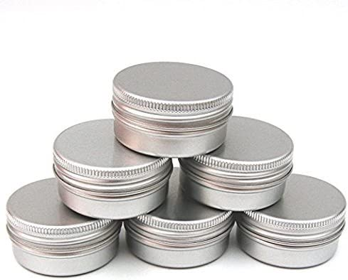 CTKcom 1 2-Ounce Metal Steel Tins Screw Top Flat Aluminum Silver Slide Round Tin Containers,1 2-Ounce, For Lip Balm,Crafts,Cosmetic,Candles,Travel Storage Kit Pack of 20