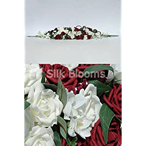 Large Ivory & Deep Red Rose Wedding Table Arrangement w/ Freesia