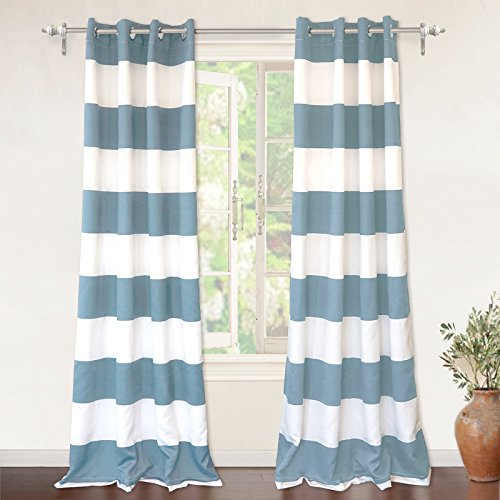 "DriftAway Mia Stripe Room Darkening Grommet Unlined Window Curtains, Set of Two Panels, each 52""x84"