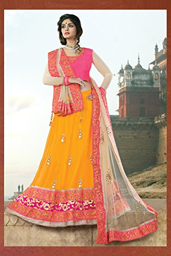 IWS Womens Silk Fabric Yellow Pretty Circular Lehenga Style 80145
