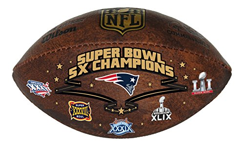 Wilson NFL New England Patriots Commemorative 5X Champ Football, 9-inches ()
