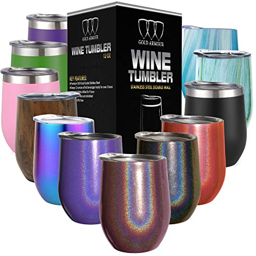 - Stainless Steel Stemless Wine Glass Tumbler with Lid, 12 oz | Double Wall Vacuum Insulated Travel Tumbler Cup - Sweat Free, Unbreakable, BPA Free (Shimmer: Merlot, 12oz)