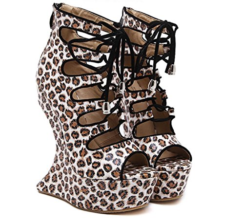High Fashion 40 Ladies Slope Heels Waterproof yu High Platform Wedding Lh Leopard Party Women with Sandals Sandals Brown Quality Sexy Banquet B1wOUxIqxn