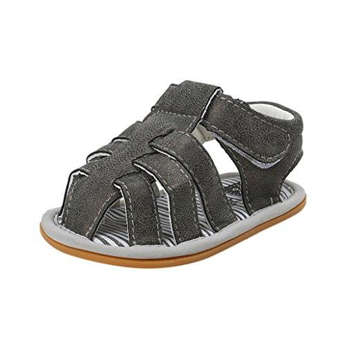 Für 3-18 Monate, Auxma Baby Jungen Sandalen Kleinkind Scrub erste Wanderer Kinder Schuhe (6-12 M, Grau) Dunkelgrau