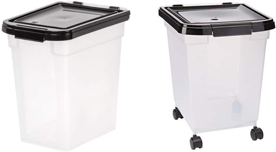 IRIS Nesting Airtight Pet Food Container, Medium with IRIS Nesting Airtight Pet Food Container, Large
