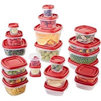 Rubbermaid Easy Find Lids Food Storage Container, 42-Piece Set, Red