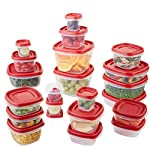 Rubbermaid Easy Find Lids Food Storage Containers, Racer Red, 42-Piece Set 1880801 6 Plastic food storage containers feature Easy Find Lids that snap on to container bases as well as same size lids, so you can always find lids when you need them, and your cabinets stay organized Great for fridge and cabinet storage, crafts, and more Nests easily with other containers for compact storage