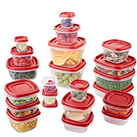 Rubbermaid Easy Find Lids Food Storage Containers, Racer Red, 42-Piece Set 1880801 1 Plastic food storage containers feature Easy Find Lids that snap on to container bases as well as same size lids, so you can always find lids when you need them, and your cabinets stay organized Great for fridge and cabinet storage, crafts, and more Nests easily with other containers for compact storage