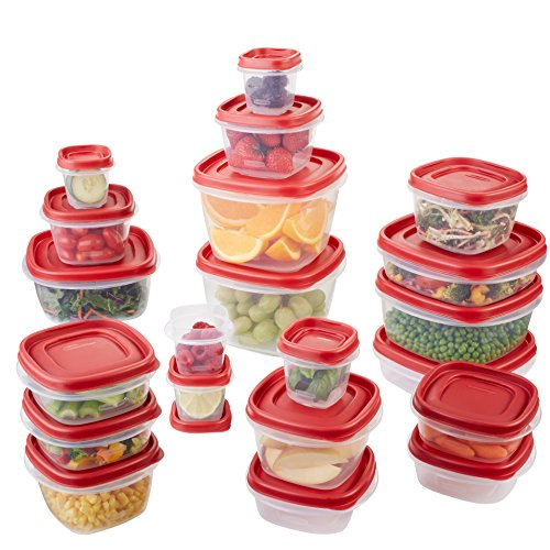 Rubbermaid Easy Find Lid 42-Piece Food Storage Container Set, Red (Lid Plastic Container Storage)