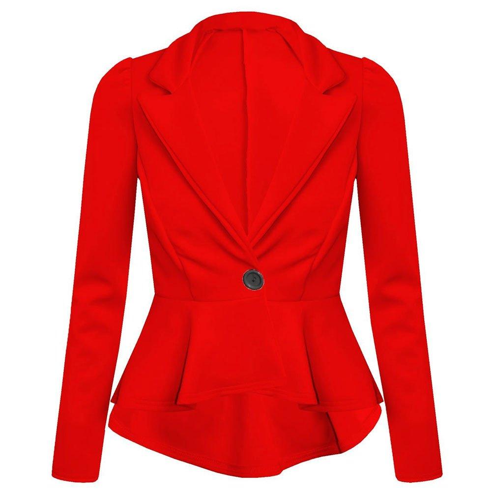 Womens Plain Button UP Peplum Frill Tailored Blazer Jacket Long Sleeve Coat Top Planet_Fancy_Dress