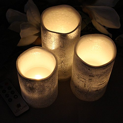 Battery Operated LED Flameless Candles - Set of 3 Round Rustic Silver Coated Ivory Wax with Warm White Flame Flickering LED Candles, auto-Off Timer Remote Control by LED Lytes by LED Lytes (Image #4)
