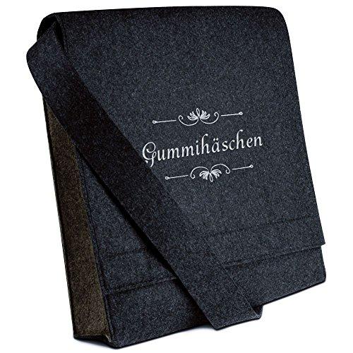 Halfar® Tasche mit Namen Gummihäschen bestickt - personalisierte Filz-Umhängetasche