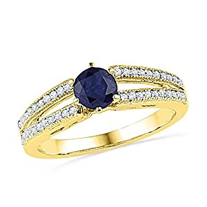 Size - 5 - Solid 10k Yellow Gold Round Blue Simulated Sapphire And White Diamond Engagement Ring OR Fashion Band Prong Set Solitaire Shaped Ring (1/5 cttw)