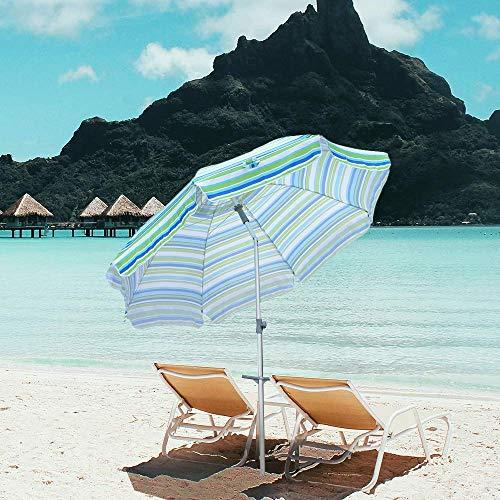 SNAIL Beach Umbrella, 7 ft Sand Anchor with Tilt Aluminum Pole, Portable Sun ray Protection Beach Umbrella with Carry Bag for Outdoor Patio, Green (Patio Anchors Umbrella)
