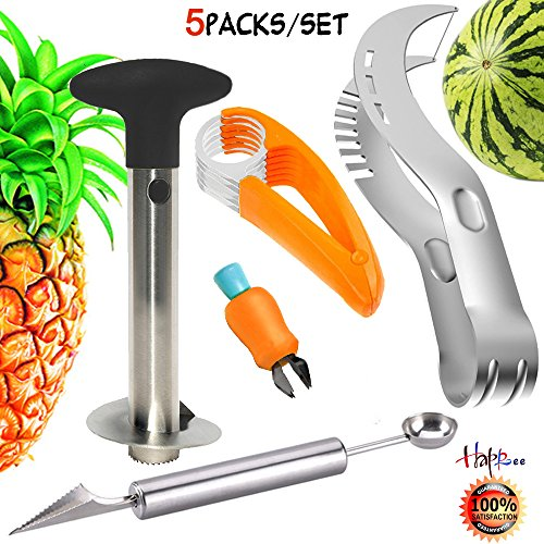 Stainless Fruit Slicer Kit, Fruit Peeler Set-Pineapple De-Corer Peeler,Banana Chopper, Watermelon Slicer, Carving Knife&Melon Baller Scoop and Strawberry Huller(Color Deviation Fruit Slicer Kit)