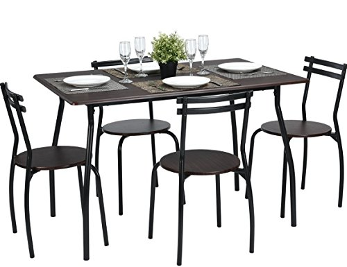 Round Dining Tables Chairs - Coavas 5pcs Dining Table Set Kitchen Furniture Kitchen Table Rectangle Dining Table with 4 Round Dining Chair Dinning Set