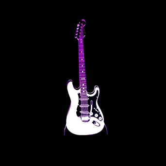 Axiba 3D Luces de la noche, guitarra eléctrica 3D ilumina creativa atmósfera de regalo pequeña