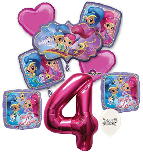 Pink Number 4th Birthday Shimmer and Shine Party Decorations Balloon Bouquet Bundle