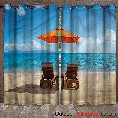 - cobeDecor Coastal 0utdoor Curtains for Patio Waterproof Two Chairs Caribbean Sea W108 x L84(274cm x 214cm)