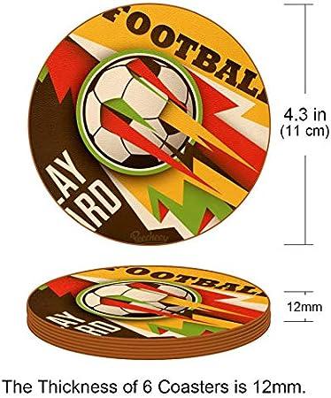 Redondo Portavasos Fútbol Deportivo Posavasos de Cuero Juego de 6 Coaster para Vaso/Copa de Bebida/Copa de Vino Tinto/Copas/Vaso de Cerveza 11x11 cm