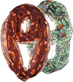 Vivian & Vincent 2 Pack of Soft Light Weight Elegant Sheer Infinity Scarf (Gift Idea) Green Owl & Red Brown Fox