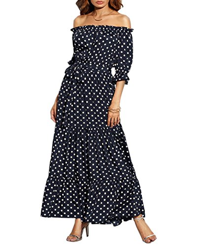 - Aofur Chiffon Dress Boat Neck Strapless Polka Dot Women Summer Boho Long Cocktail Beach Sundress Maxi Dresses Party Wedding (Small, Navy)