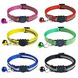 WDOIT 6PCS Reflective Breakaway Cat Collar Adjustable Small Pets Puppy Dog Kitten Cat Nylon Collar with Bell 6 Color