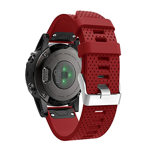 Silicone Watch Band Quick Fit Replacement for Garmin Fenix 5S Watch Bracelet, Hero Iand Quick Release Replacement Band Strap for Garmin Fenix 5S Watch (Red) ()