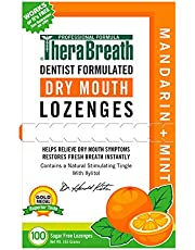 TheraBreath Dry Mouth Dentist Formulated Lozenges Sugar Free Mandarin Mint Flavor 100 Count