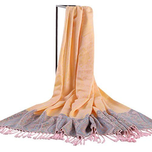(FLYRCX Spring and summer long soft and comfortable breathable cotton shawl fringed scarf color lady 190cmx70cm,A )
