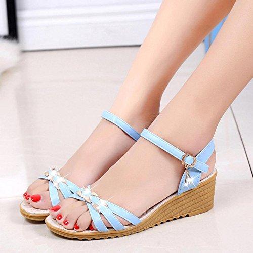 Sandalias de mujer, Internet Las mujeres plana del verano de las sandalias cómodas zapatos de las señoras (36, Blanco)
