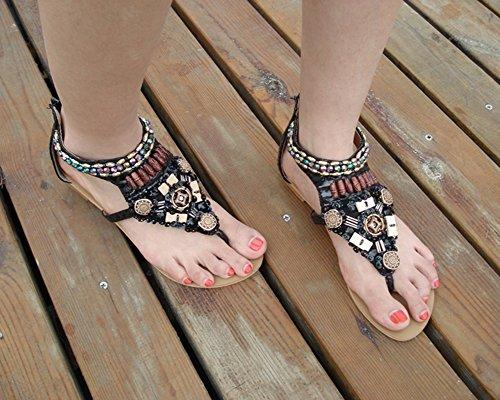 Mujer Planas Sandalias Adorno De Rhinestone T-Correa Zapatos de la playa de Bohemia Clip Toe Zapatos Negro