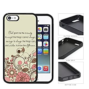 God Serenity Courage Quote With Pink Floral Pattern Rubber Silicone TPU Cell Phone Case Apple iPhone 5 5s