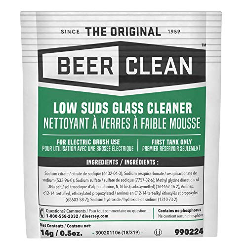 - Diversey Beer Clean Low Suds Glass Cleaner (0.5-Ounce, 100-Pack)