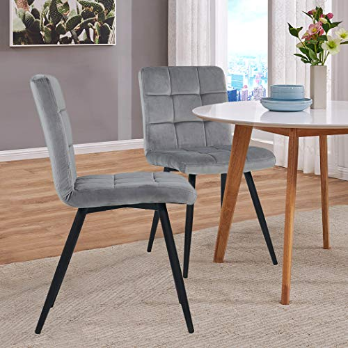 Gray Dining Chairs,Wingback Dining Room Armchairs Set of 2 Modern Upholstered Leisure Club Chairs with Solid Steel Legs Velvet Cushion for Living Room Bedroom Reception Area
