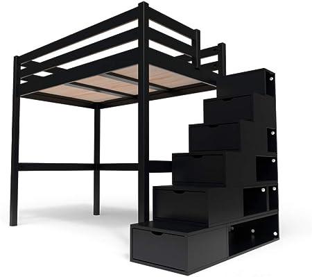 ABC MEUBLES - Cama Alta Sylvia con Escalera Cubo - Cube - Negro, 120x200: Amazon.es: Hogar