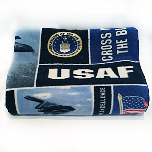 lovemyfabric Fleece Printed United States Air Force Print Blanket 58 Inch By 72 Inch (State Throw Fleece)