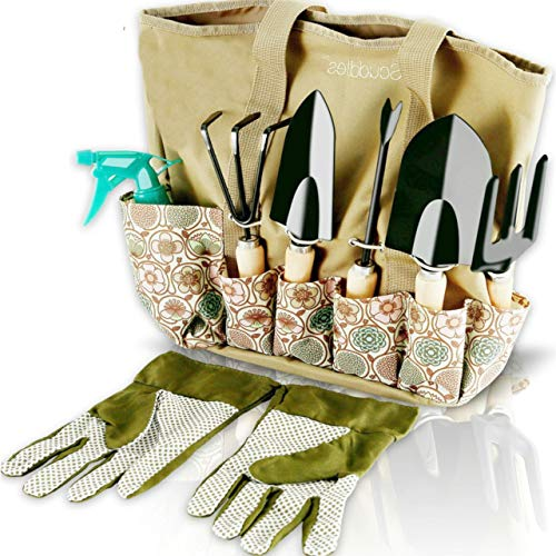 Scuddles Garden Tools Set Piece Heavy Duty Gardening Tools wIith, Ergonomic Hand Digging Weeder, Rake, Shovel, Trowel, Sprayer, Gloves Gift for Men & Women Upgraded 2020 Version