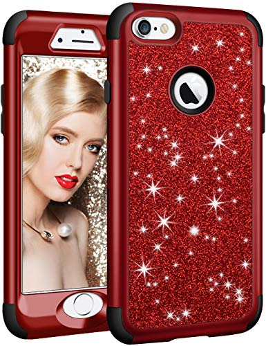 Vofolen for iPhone 6S Plus Case iPhone 6 Plus Case Glitter Bling Shiny Heavy Duty Protection Full-Body Protective Hard Shell Hybrid Rubber Bumper Armor Front Cover for iPhone 6 Plus 6S Plus Red