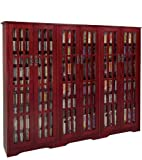 Leslie Dame M-1431DC High-Capacity Inlaid Glass Mission Style Multimedia Storage Cabinet, Cherry