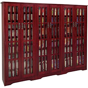 Leslie Dame M 1431DC High Capacity Inlaid Glass Mission Style Multimedia  Storage Cabinet,