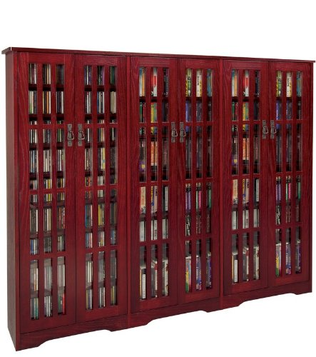 Leslie Dame M-1431DC High-Capacity Inlaid Glass Mission Style Multimedia Storage Cabinet, Cherry by LDE LESLIE DAME