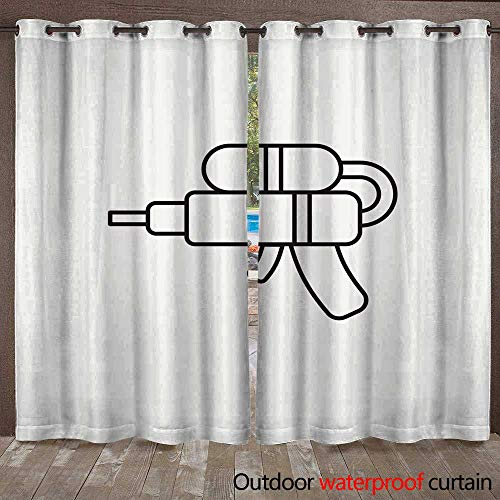 Outdoor Curtains for Patio Sheer Toy Water Gun icon W72 x L84