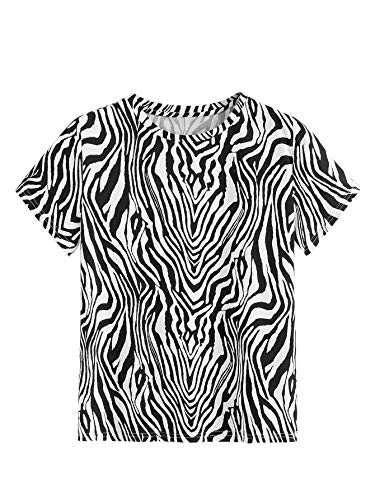 (Milumia Women's Casual Zebra Print Short Sleeve T Shirt Tee Tops Multicolor-2 S)