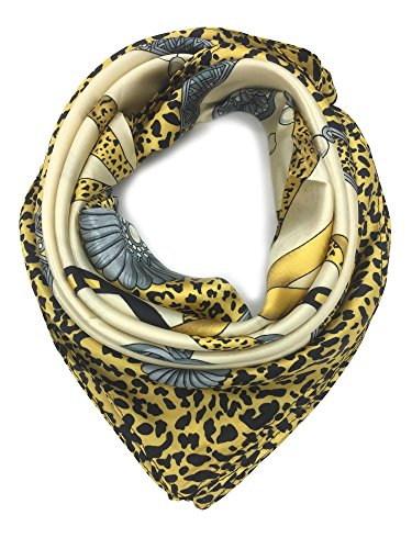 YOUR SMILE Silk Like Scarf Women's Fashion Pattern Large Square Satin Headscarf (Leopard Chain) ()
