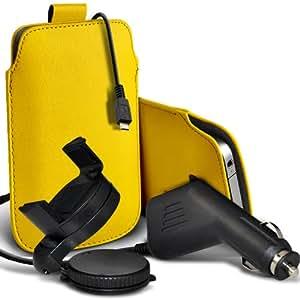 Nokia Lumia 820 premium protección PU ficha de extracción Slip In Pouch Pocket Cordón Piel Con 12v USB Micro Cargador para el coche y 360 giratorio del parabrisas del coche sostenedor de la horquilla amarilla por Spyrox