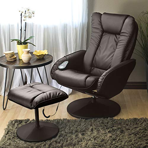 Best Choice Products Faux Leather Electric Massage Recliner Couch Chair w/ Stool Footrest Ottoman, Remote Control, 5 Heat & Massage Modes, Side Pockets - Brown