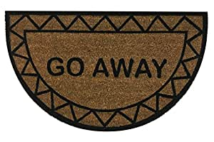 """Half Moon """"Go Away"""" Doormat by Castle Mats, Size 18 x 30 inches, Non-Slip, Durable, Made Using Odor-Free Natural Fibers"""