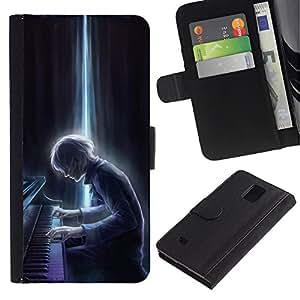 KingStore / Leather Etui en cuir / Samsung Galaxy Note 4 IV / Calabaza de la caída de Halloween Otoño;